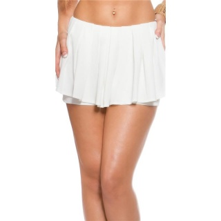 SEXY SKORT SHORTS WITH PLEATS WHITE