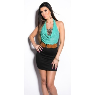 ELEGANT 2-IN-1 HALTERNECK MINI DRESS WITH BELT MINT/BLACK