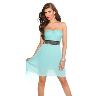ELEGANT STRAPLESS CHIFFON EVENING DRESS WITH FINE LACE MINT