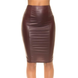 SEXY SKINNY HIGH-WAISTED PENCIL SKIRT IN WET LOOK WINE-RED