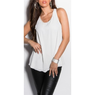 SEXY LOOSE-FIT CHIFFON TOP TRANSPARENT MIT STRASS WEISS