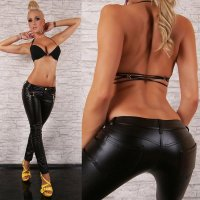 Leather look & faux leather trousers