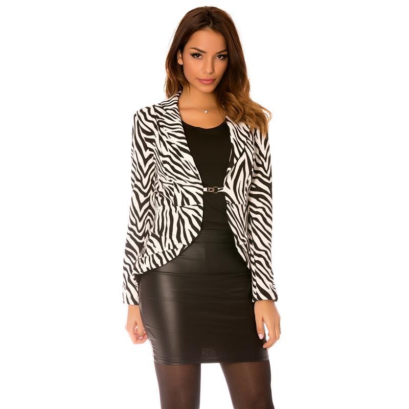 eleganter damen blazer mit zebra muster 34 95. Black Bedroom Furniture Sets. Home Design Ideas