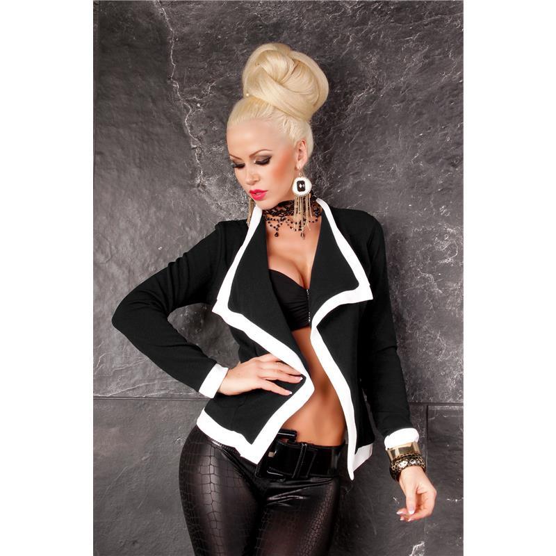 eleganter taillierter blazer bolero j ckchen schwarz weiss. Black Bedroom Furniture Sets. Home Design Ideas