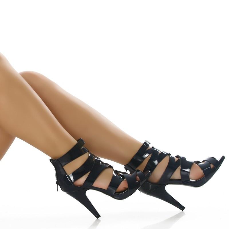 sexy high heel sandaletten in lackleder optik 24 95. Black Bedroom Furniture Sets. Home Design Ideas
