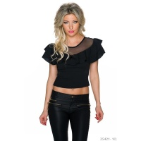 LADIES BELLY SHIRT IN LATINA STYLE WITH MESH AND FLOUNCES...