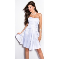 SEXY STRAPLESS SATIN EVENING DRESS WHITE UK 14