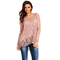 2-PCS TUNIC LONG-SLEEVED SHIRT IN CROCHETED LOOK ANTIQUE...
