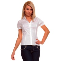ELEGANT SHORT-SLEEVED BLOUSE WHITE UK 8