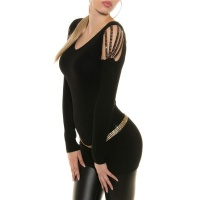 ELEGANT FINE KNITTED LONG SWEATER WITH RHINESTONES BLACK