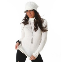 ELEGANT FINE-KNITTED SWEATER POLO-NECK SWEATER CREAM