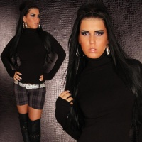 ELEGANT FINE-KNITTED POLO-NECK SWEATER BLACK