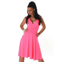 ELEGANT A-LINE EVENING DRESS WITH BROAD STRAPS NEON-FUCHSIA