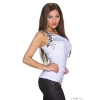 ELEGANTES ONE-SHOULDER TOP MIT PAILLETTEN WEISS