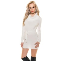 ELEGANT KNITTED MINIDRESS WITH AMPLE TURN-DOWN COLLAR...