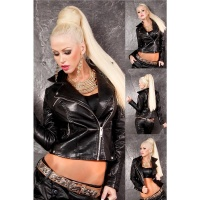 HIGH CLASS BIKER JACKET MADE OF ARTIFICIAL LEATHER WITH...