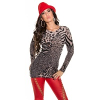 CUDDLY SOFT KNITTED LADIES SWEATER IN LEOPARD LOOK BEIGE