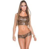 SEXY 2 PCS GOGO-SET WITH CUT-OUTS CLUBWEAR LEOPARD-LOOK...