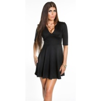 SEXY A-LINE MINIDRESS EVENING DRESS BABYDOLL BLACK UK 12 (M)