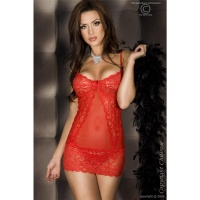 SEXY BABYDOLL WITH LACE CHIFFON DESSOUS GOGO RED UK 8/10...