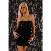 SEXY BANDEAU DRESS MINIDRESS WITH SEQUINS PARTY BLACK