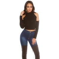 SEXY KNITTED LADIES CROP SWEATER COLD SHOULDER BLACK