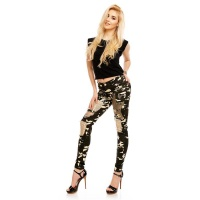 LADIES ARMY DRAINPIPE JEANS DESTROYED WITH RHINESTONES...