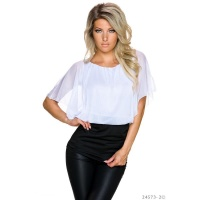 SEXY DOUBLE LOOK SHORT-SLEEVED SHIRT WITH MESH WHITE/BLACK