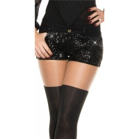 SEXY GLAMOUR STRETCH HOT PANTS WITH SEQUINS BLACK UK 12 (M)
