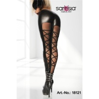 SEXY GLOSSY LEGGINGS WET LOOK WITH CHIFFON BLACK UK 12 (S)