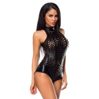 SEXY HOT PANTS OVERALL BODY WET LOOK GOGO CLUBWEAR BLACK...