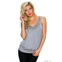 SEXY LONGTOP WITH WIDE STRAPS LIGHT GREY Onesize (UK...