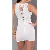 SEXY MINIDRESS WITH LACING SNAKE-LOOK GOGO CLUBWEAR WHITE