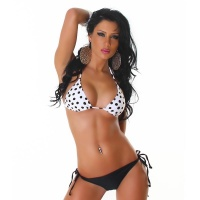 SEXY HALTERNECK BIKINI BEACHWEAR WITH DOTS BLACK/WHITE