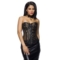 SEXY MESH CORSAGE IN LEATHER LOOK INCL. THONG BLACK UK 16...