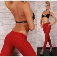 SEXY DRAINPIPE JEANS WITH ZIPPER RED UK 14 (XL)