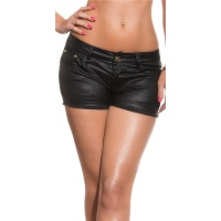 SEXY SHORTS HOT PANTS IN LEATHER LOOK CLUBWEAR BLACK UK...