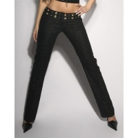 SEXY FLARED TROUSERS CLOTH PANTS WITH GLITTER THREADS BLACK