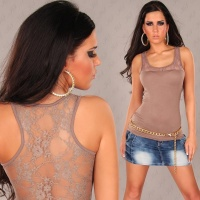 SEXY TANKTOP TOP WITH LACE CAPPUCCINO