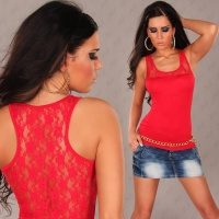 SEXY TANK-TOP TOP MIT SPITZE ROT