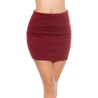 SEXY BASIC MINISKIRT MADE OF STRETCH FABRIC WINE-RED