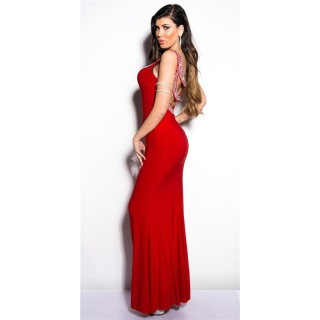 DIVA-LIKE GALA GLAMOUR EVENING DRESS WITH RHINESTONES RED