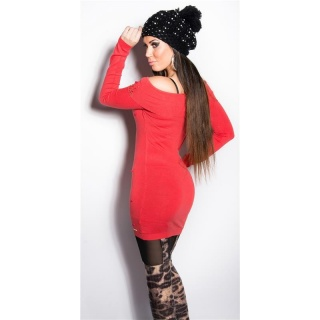 PRECIOUS FINE-KNITTED LONG SWEATER WITH RHINESTONES CORAL