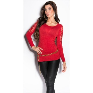 NOBLE FINE-KNITTED GLITTER SWEATER WITH LACE AND RHINESTONES RED