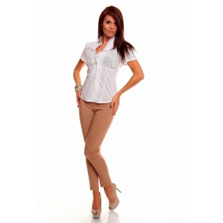 ELEGANT SHORT-SLEEVED BLOUSE WITH FRILLS WHITE