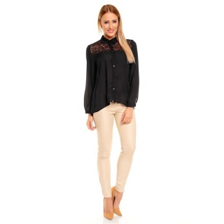 ELEGANT LONG-SLEEVED CHIFFON BLOUSE TRANSPARENT WITH LACE BLACK