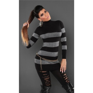 FASHIONABLE FINE-KNITTED POLO-NECK LONG SWEATER WITH GLITTER BLACK