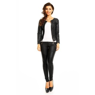 LIGHT SLIM-FIT STRETCH JACKET WITH STITCHED LEATHER-LOOK BLACK