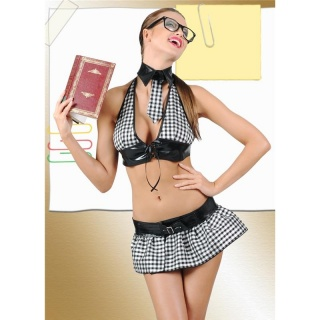 SEXY 3 PCS SCHOOLGIRL STUDENT COSTUME GOGO SET BLACK/WHITE