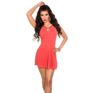 SEXY BABYDOLL MINIKLEID PARTYKLEID MIT ABNEHMBARER KETTE CORAL